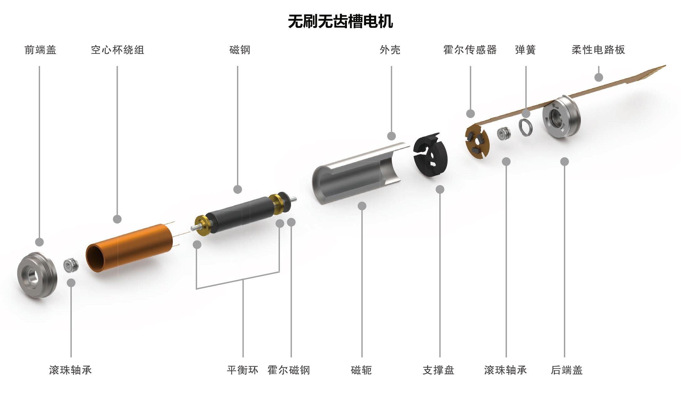 无刷无齿槽电机结构图