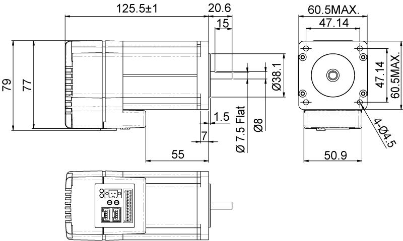 STM24系列 60mm机座 多种控制模式机械尺寸