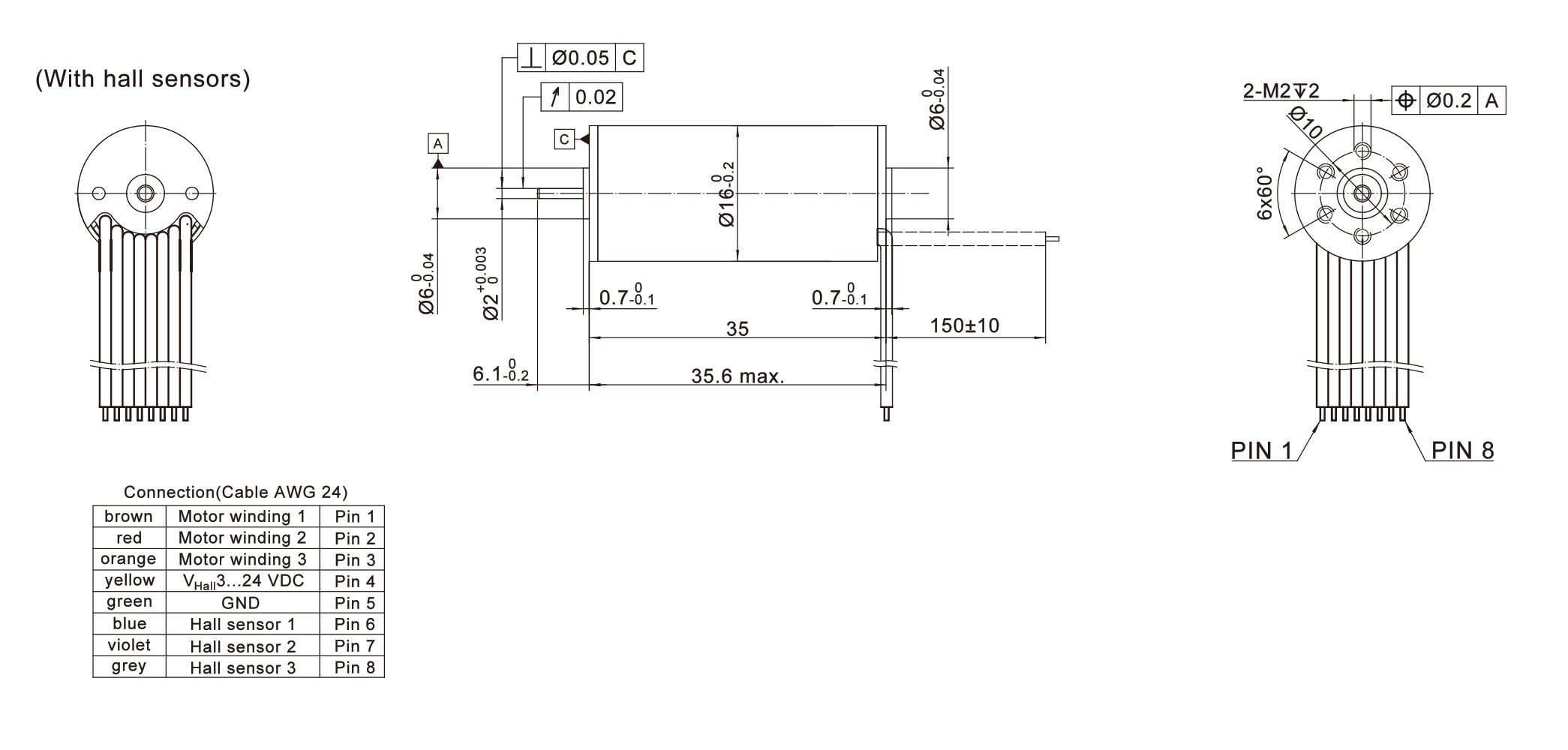 ECU16036系列无刷无齿槽电机尺寸图